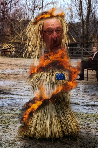burning eu politician